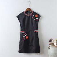 A4连衣裙女夏韩版套装亮片口红 唇印刺绣中长款两件套裙子0.3