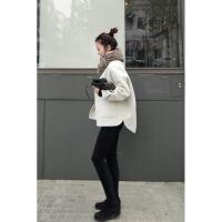 毛呢外套女秋冬新款小个子短款白色斗篷双面羊绒大衣韩国学生 白色