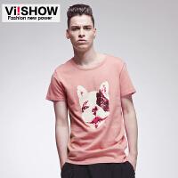 viishow男装新款短袖T恤 粉色图案短袖 圆领印花T恤 纯色t