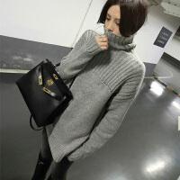 秋冬新款黑色打底高领毛衣女套头加厚中长款韩版冬宽松针织衫 灰色 高领开叉毛衣 X