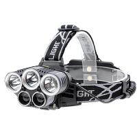 头灯 5led3T6强光充电头夜钓狩猎灯五头户外照明灯野营可调节探照灯