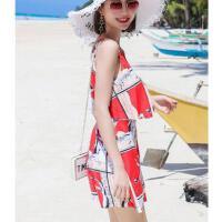 游泳衣女时尚保守新款显瘦遮肚时尚性感韩国连体裙式平角温泉泳装