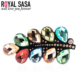 皇家莎莎Royalsasa韩版头饰品发卡顶夹亚克力盘发夹人造水晶横夹发饰-炫彩银河