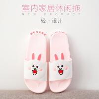 夏天凉拖鞋男家用平跟浴室滑冲凉洗澡拖鞋女夏情侣条纹韩版学生