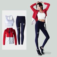 韩版新款健身服跑步运动速干宽松冬季瑜伽套装女长袖加厚外套 红白外套+白文胸+蓝裤 三件套