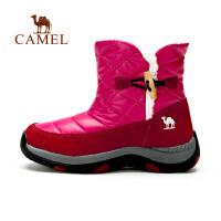 骆驼户外徒步鞋 秋冬女款毛里保暖高帮套脚短靴徒步鞋