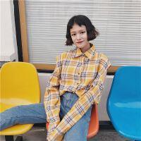 18新款学院风百搭宽松格子镂空长袖衬衫外套潮流时尚装