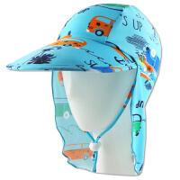 新款男童时尚卡通沙滩游泳帽印花防晒帽儿童护颈帽锦氨纶   可礼品卡支付