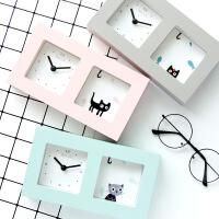 日式创意小清新贪睡时钟 卧室床头学生钟表懒人时刻表时钟表