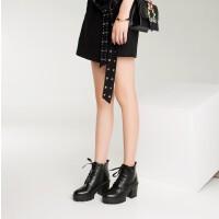 O'SHELL欧希尔新品136-Q68欧美粗跟女士短靴