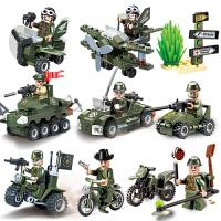 飞机战车3玩具启蒙拼装积木军事男孩子人仔武器坦克