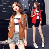 古莱登年夏季防晒衣连帽字母五分袖口袋韩版简约街头气质