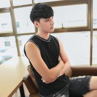 夏季韩版修身坎肩男士背心运动健身透气青年纯棉打底无袖T恤潮流【潮流】【超火】