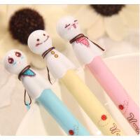 日韩国文具 晴天娃娃 清新可爱黑色水笔 创意中性笔学习用品