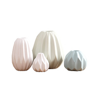 陶瓷花瓶干花插花器北欧清新简约文艺餐桌北欧办公室卧室客厅摆件 (含三支短蓝莓果)