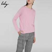 【25折到手价:109元】 Lily春新款女装时尚拼色针织衫粉色宽松套头衫118130B8771