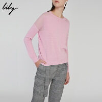 Lily春新款女装时尚拼色针织衫粉色宽松套头衫118130B8771