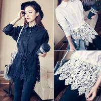 秋季女装新款韩版蕾丝拼接中长款蝙蝠袖翻领衬衫女装收腰显瘦上衣 均码