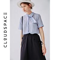 【2件8折/3件75折】云上生活2019夏新款烟灰蓝条纹衬衣短袖潮流韩版衬衫女