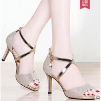 户外新品高跟凉鞋女仙女风细跟百搭适合搭配吊带连衣裙的鞋子