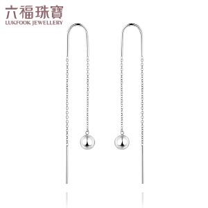 六福珠宝18K金耳线圆珠彩金耳环18K玫瑰金耳线女耳钉定价 L18TBKE0052W
