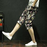 2017夏季男士休闲裤七分裤个性印花潮流男裤时尚花色7分裤沙滩裤