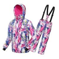 防风防水儿童滑雪服保暖加厚女童冲锋衣套装