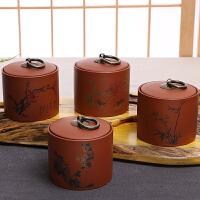 紫砂茶叶罐梅兰竹菊四君子小号密封储茶罐陶瓷普洱醒茶罐粗陶茶盒