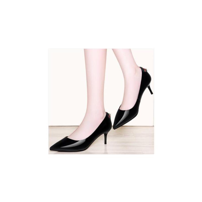 古奇天伦韩版浅口公主女鞋子百搭黑色皮鞋尖头细跟高跟鞋新款春季单鞋JK08842 品质保证 售后无忧 货到付款
