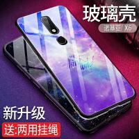 诺基亚2018版X6手机壳玻璃TA-1099保护套软硅胶防摔X6防摔全包边镜面玻璃后盖硬壳个性潮牌男