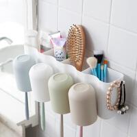壁挂式无痕贴牙刷架洗漱套装浴室牙膏牙具置物架盒情侣一家三口四口刷牙杯子