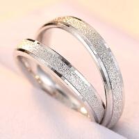 S925银情侣戒指一对简约磨砂学生尾戒日韩刻字创意结婚对戒