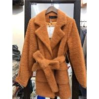 N7冬装新款韩版仿金貂绒小个子毛呢外套女装短款呢子大衣