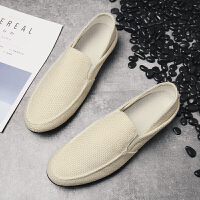夏季男鞋子休闲帆布鞋韩版一脚蹬亚麻懒人鞋潮鞋老北京布鞋开车鞋