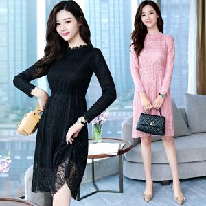 RANJU然聚2018女装春季新品新款韩版时尚显瘦蕾丝名媛气质公主裙中长裙