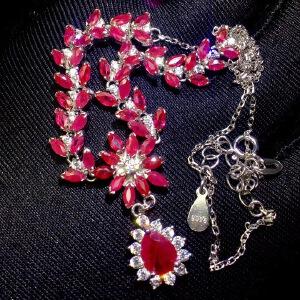 纯天然缅甸红宝石项链,晶体干净,高品质!四大名贵宝石之一