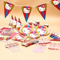 儿童生日派对布置用品猫儿童周岁生日布置套餐派对用品吹龙喇叭帽子拉旗桌布纸杯拉旗 豪华6人套装