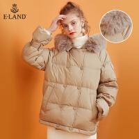 【到手价:1399元】ELAND冬季新款连帽毛领双排扣A字版型羽绒服女EEJD94VCBM
