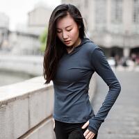 运动上衣女 宽松健身瑜伽服跑步连帽长袖透气速干T恤