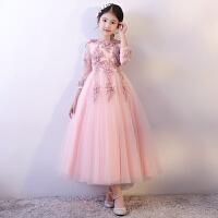 秋冬季长袖小主持人花童蓬蓬纱女童公主裙红色儿童礼服钢琴演出服