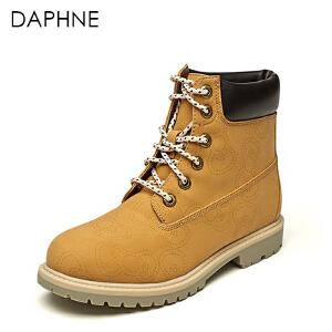 Daphne/达芙妮女靴 HelloKitty甜美低跟系带短马丁靴
