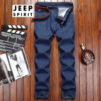 吉普JEEP牛仔裤男商务休闲裤子男士牛仔长裤宽松直筒潮流中腰长裤