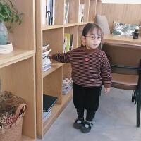 女童卫衣冬季韩版童装条纹爱心刺绣加绒加厚保暖上衣179885