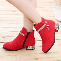 女童短靴学生内增高皮鞋中大童小高跟加绒棉鞋