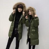 冬季新款情侣装韩版貉子真毛领中长款女羽绒服加厚男冬天外套