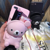 抖音粉色小熊立体钥匙带零钱收纳包vivox21 i苹果手机壳6s挂绳放多功能带钱包手