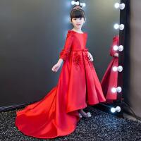 花童演出服主持人晚礼服秋 儿童礼服公主裙女童蓬蓬裙拖尾红色长袖 红色