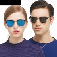 偏光墨镜男潮 彩膜太阳镜女 圆脸时尚复古圆形反光小框眼镜