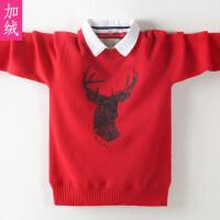 儿童毛衣针织衫秋冬套头打底衫中大童上衣衬衫领绒厚款男孩
