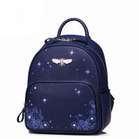 双肩包女包新款包包书包休闲背包女双肩背包gfh 星空蓝